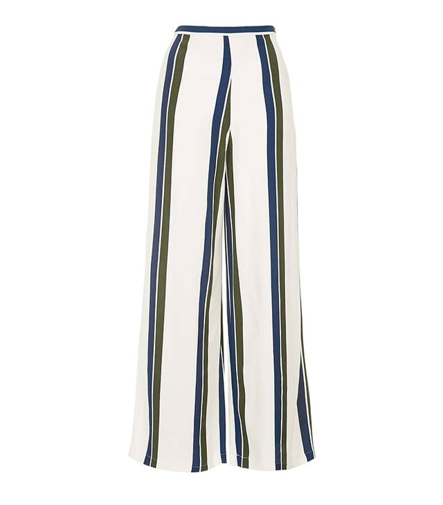 Topshop Striped Wide Leg Trousers
