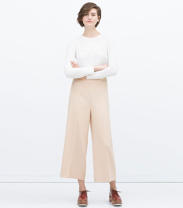 Zara Cropped High Waisted Trousers