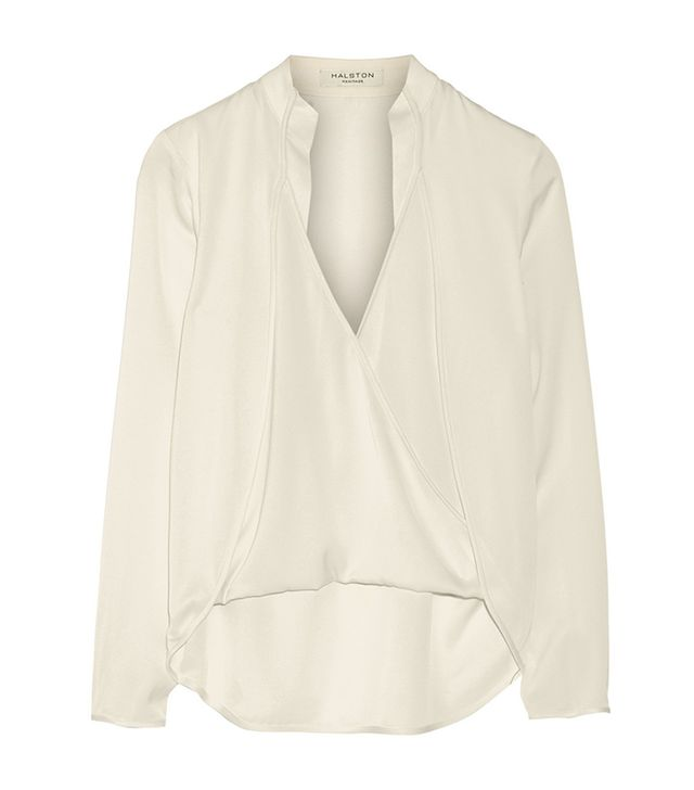 Halston Heritage Wrap-Effect Stretch-Silk Georgette Top