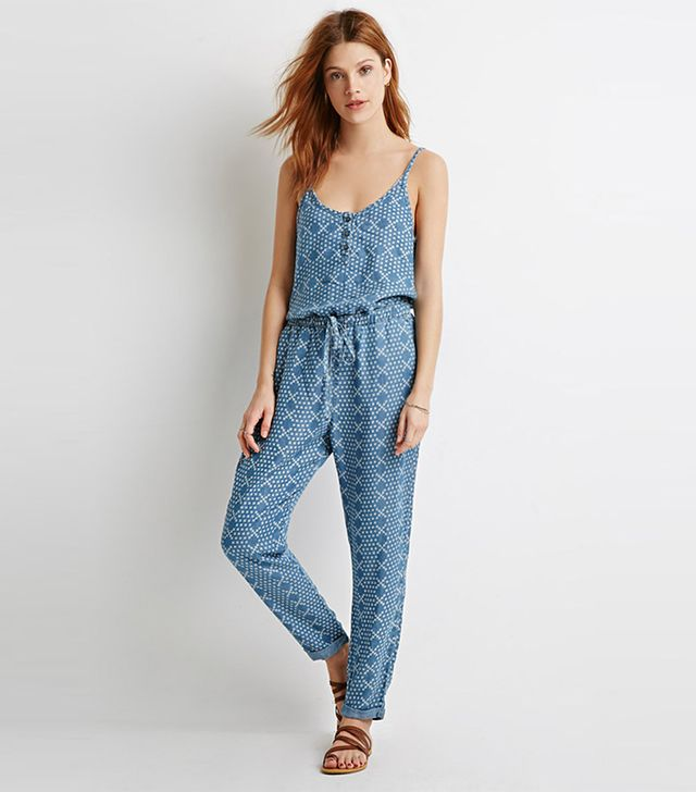 Forever 21 Life in Progress Pixelated Print Chambray Jumpsuit