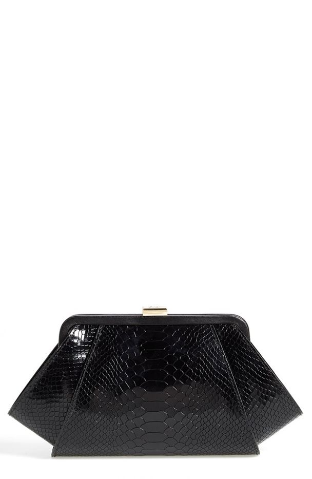 Zac Zac Posen Posen Snake Embossed Leather Clutch