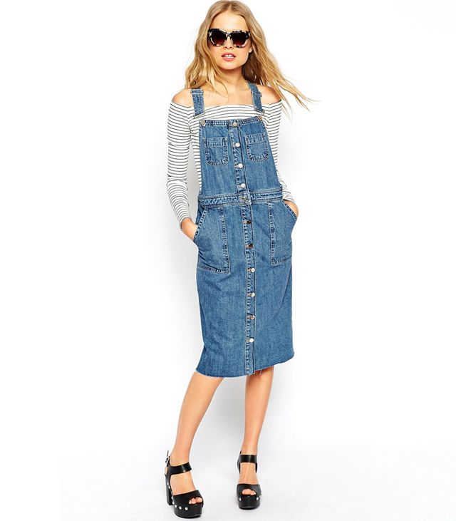 ASOS Denim Midi Pinafore Dress with Raw Hem