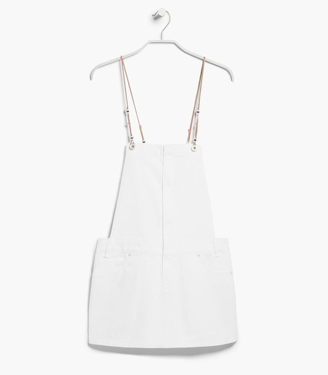 Mango White Denim Pinafore Dress