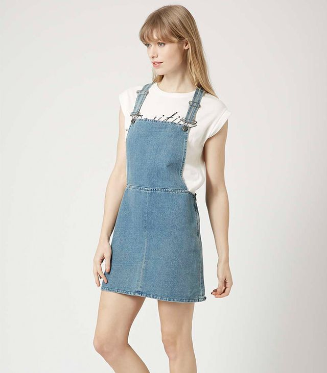 Topshop Moto Vintage Wash Pinafore Dress