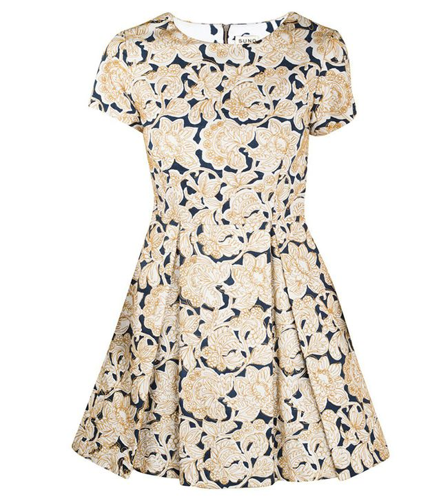 Suno Blue and Gold Embroidery Dress