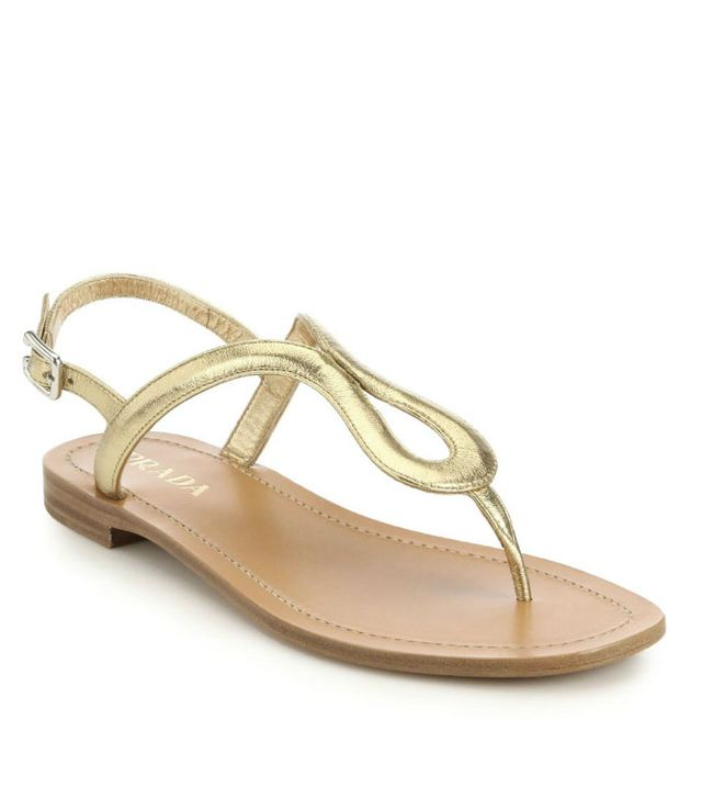 Prada Metallic Leather Thong Sandals