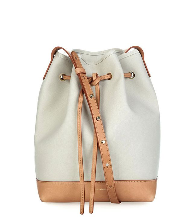 Mansur Gavriel Large Canvas and Leather Bucket Bag