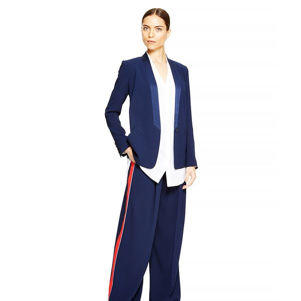 DKNY Crepe Wide-Leg Pleated Pants