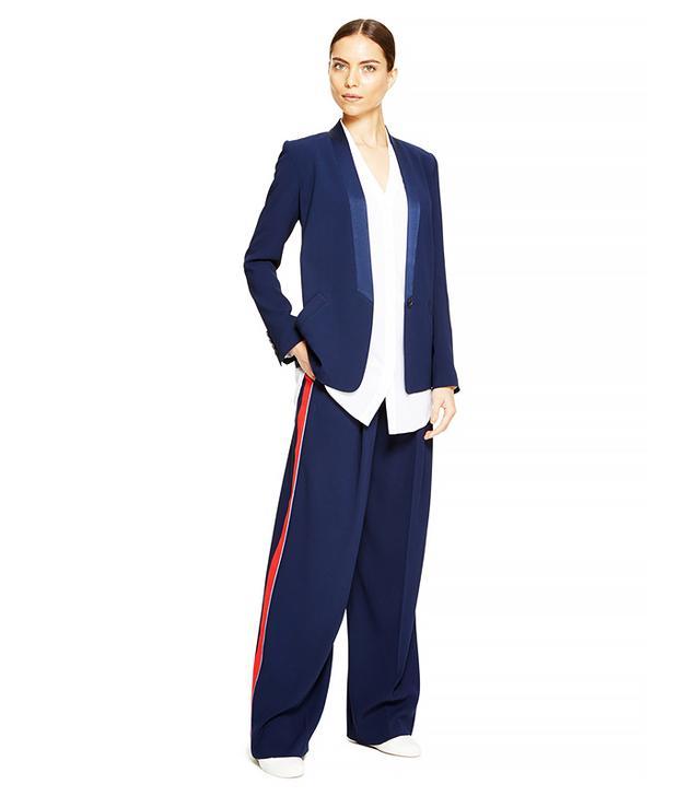 DKNY Crepe Wide-Leg Pleated Pants