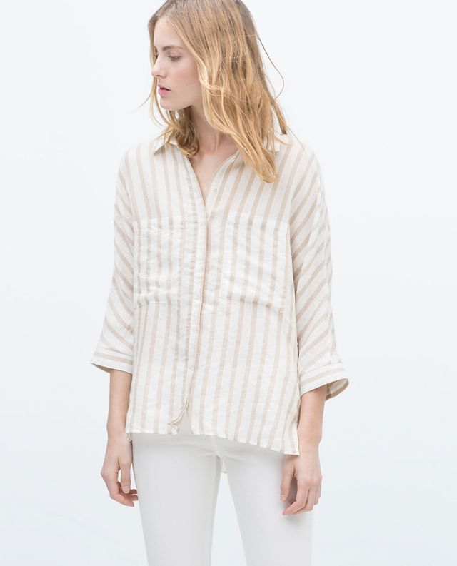 Zara Striped Kimono Sleeve Shirt