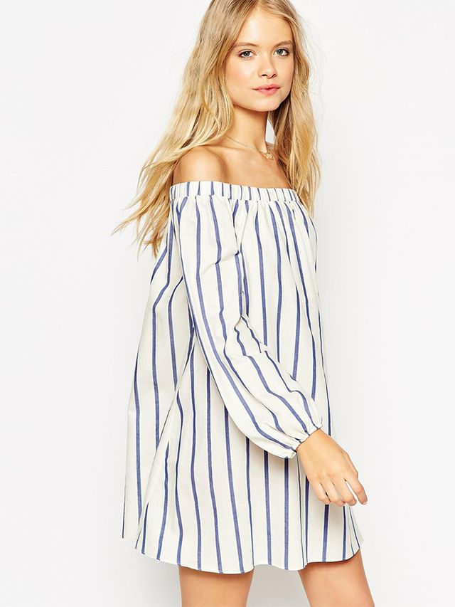 ASOS Swing Dress With Off Shoulder Detail in Wide Stripes