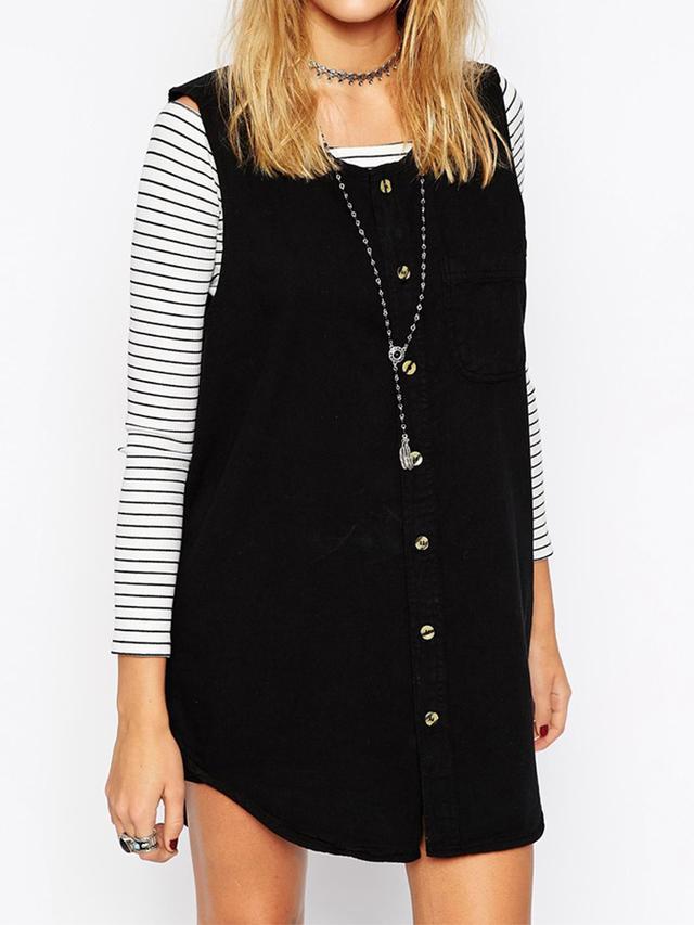 ASOS Reclaimed Vintage Sleeveless Denim Shirt Dress