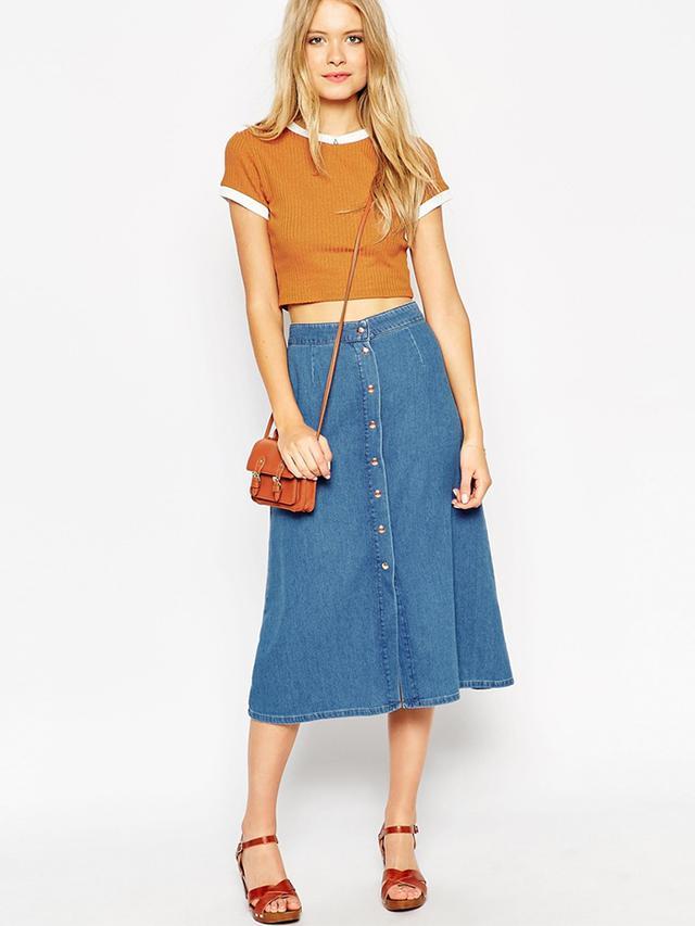 ASOS Denim Button Through Western Midi Skirt