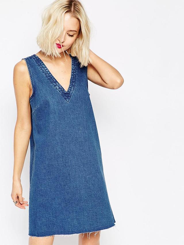 ASOS Denim V-Neck Tunic Dress With Raw Hem