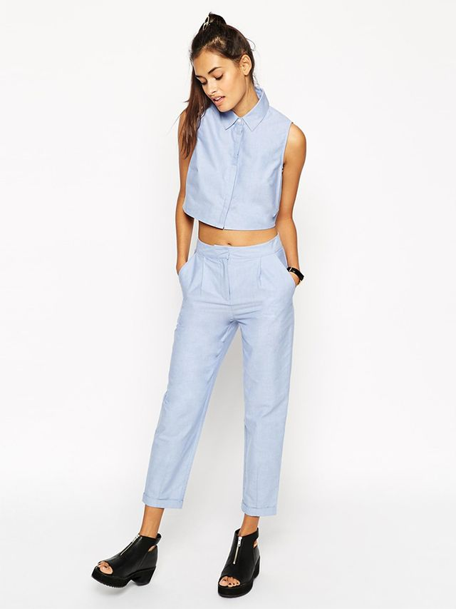 ASOS Co-Ord Peg Pants in Blue Chambray
