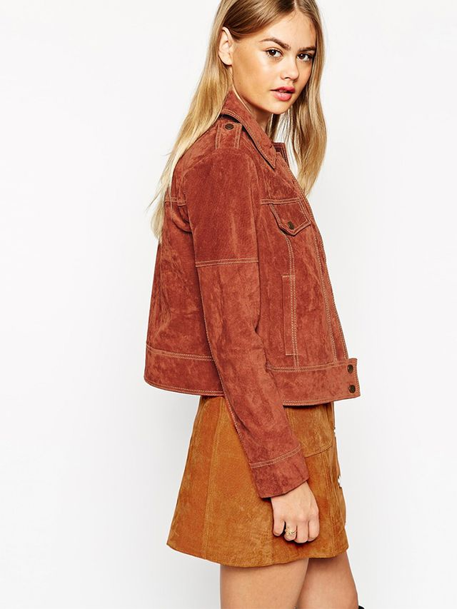 ASOS Western Jacket in Suede With Stitch Detail
