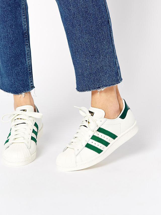adidas Originals Superstar 80s DLX White & Green Sneakers