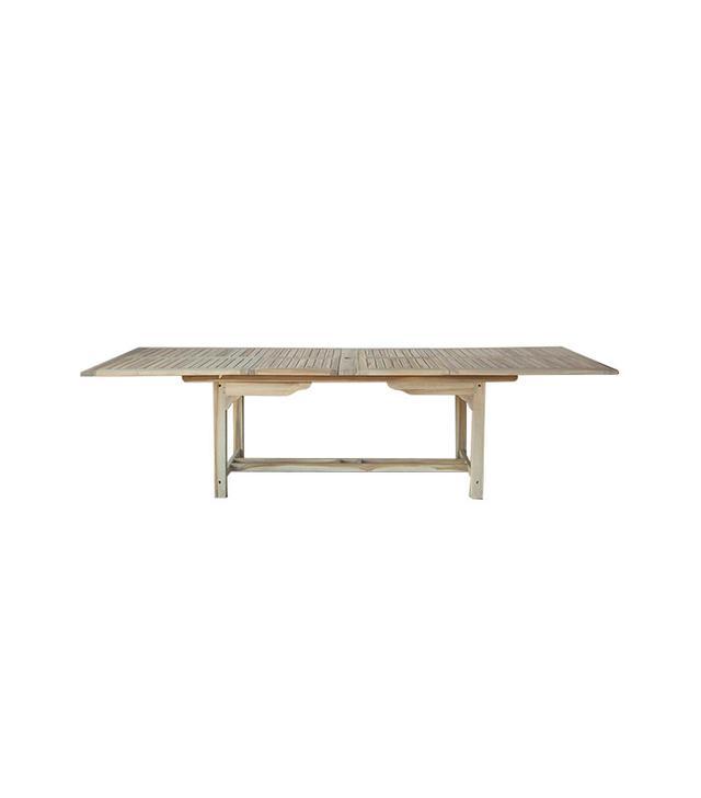 Terrain Preserved Teak Extension Umbrella Table