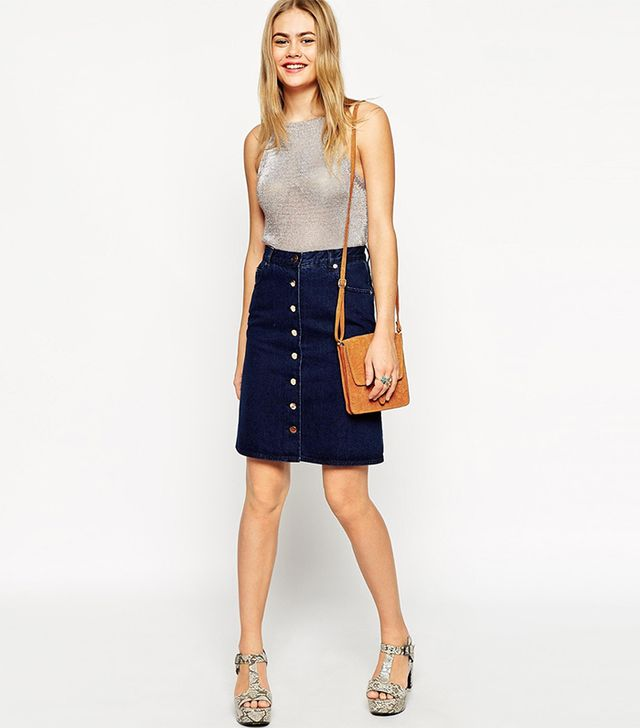 ASOS Denim Polly A-Line Button Through Midi Skirt