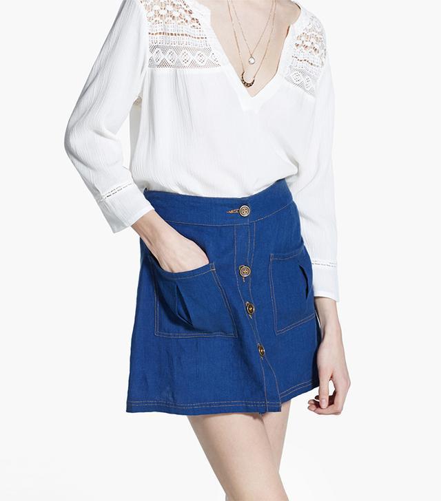 Mango Linen Pockets Miniskirt