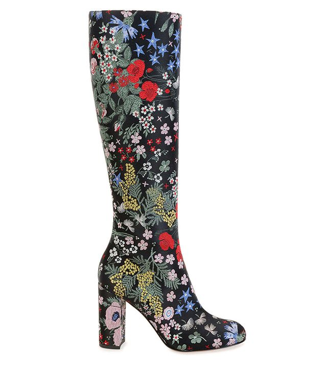 Valentino Garden-Print Leather Knee Boots