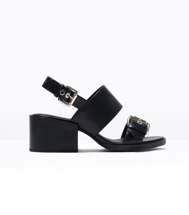 Zara Block Heel Sandals With Buckles