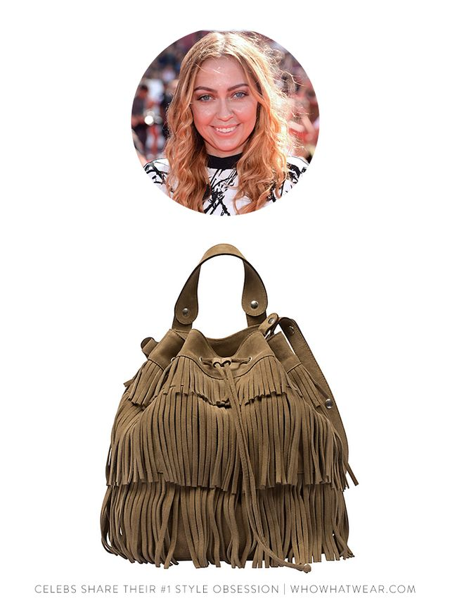 Gerard Darel Indie Fringed Suede Bucket Bag in Camel