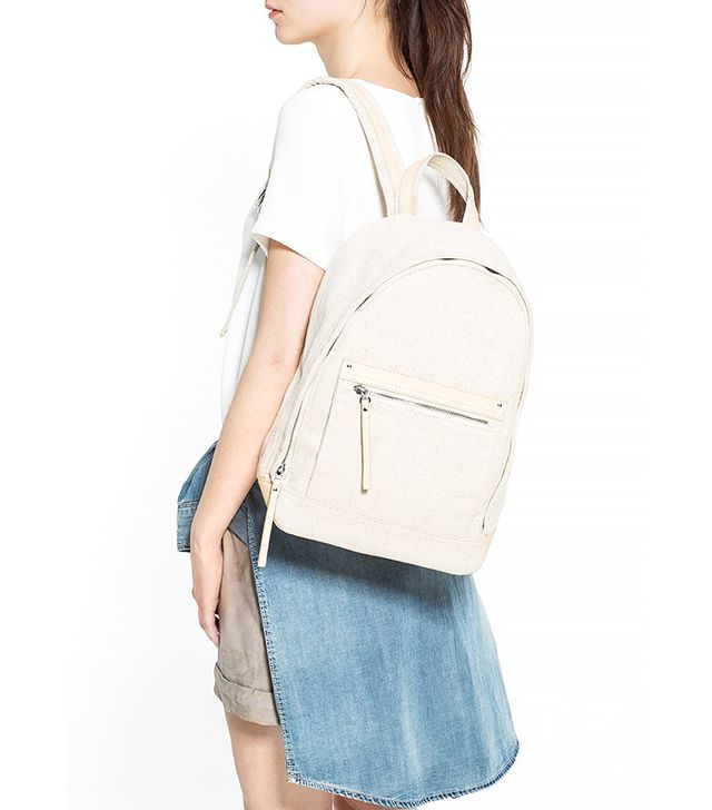 Mango Pocket Linen-Blend Backpack