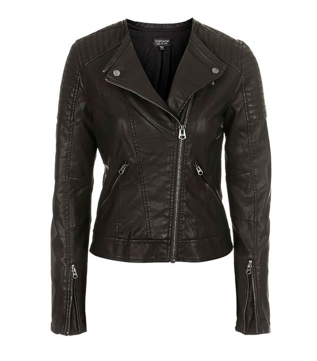 Topshop Charlie Quilted Faux Leather Jacket