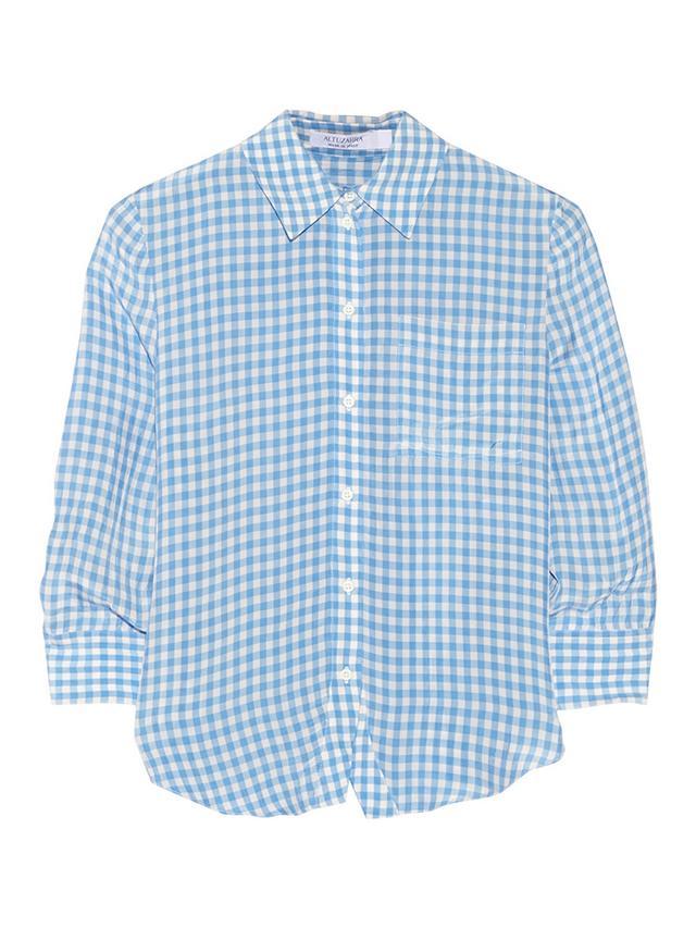 Altuzarra Volpone Gingham Crinkled-Twill Shirt