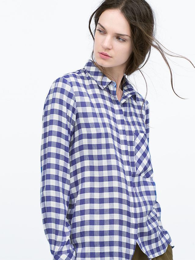 Zara Gingham Checked Shirt