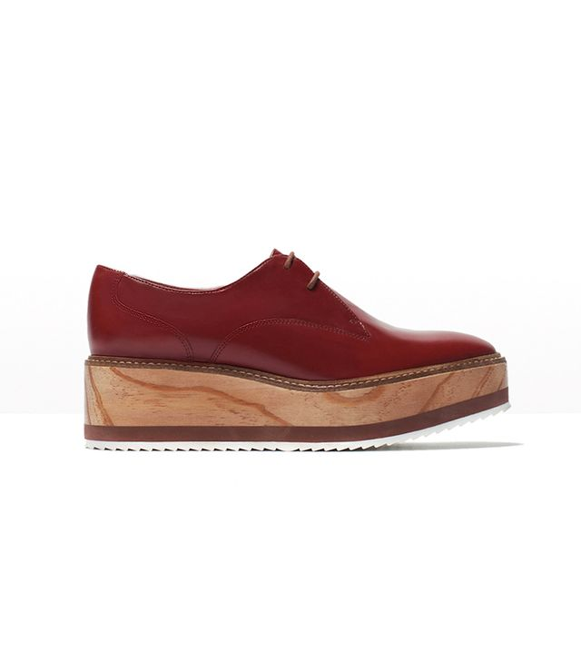 Zara Wooden Sole Leather Bluchers