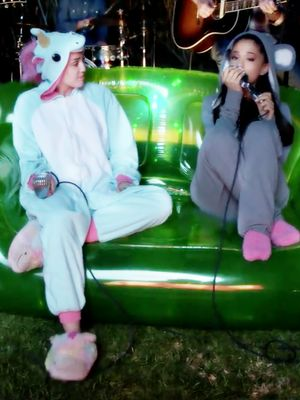 Miley Cyrus and Ariana Grande Sing in Animal Onesies in the Backyard