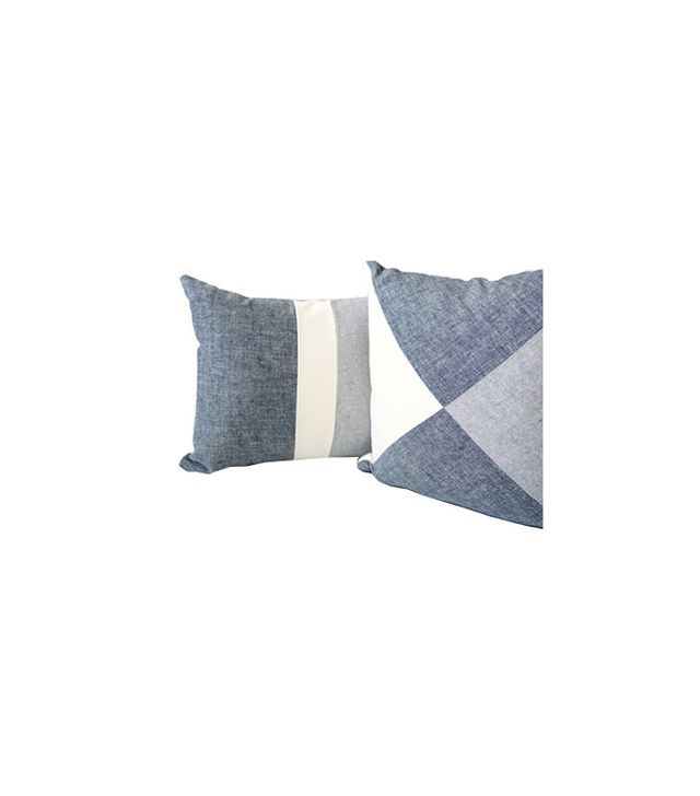 Cloth + Ink Organic Patchwork Chambray Pillow