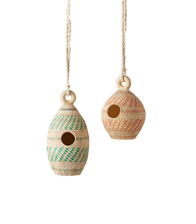 Anthropologie Basketweave Birdhouse