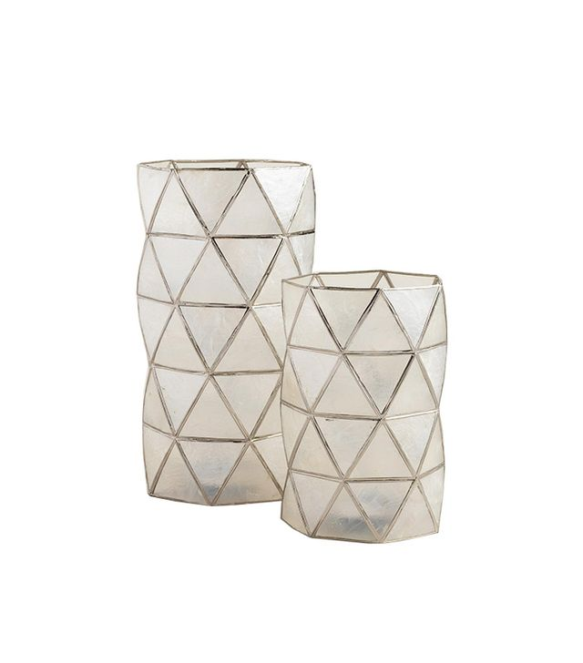 World Market White Capiz Hexagon Hurricane Candleholder