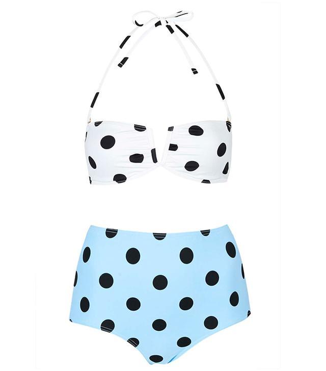 Topshop Polka Dot Bandeau Bikini Set