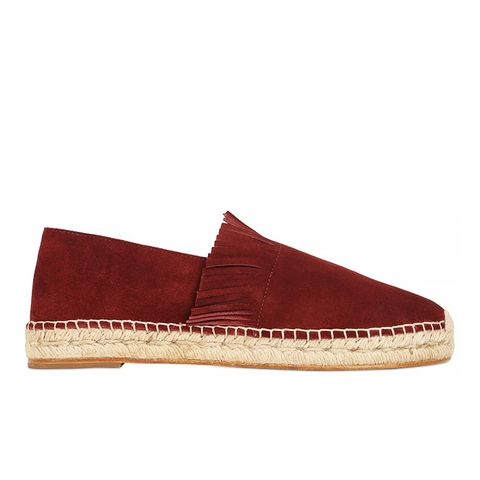 Red Suede Fringed Espadrille Flats