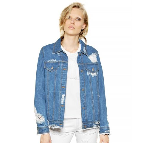 Destroyed Washed Cotton Denim Jacket