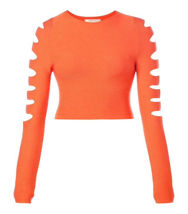 Cushnie Et Ochs Cut-Out Knit Jersey Top