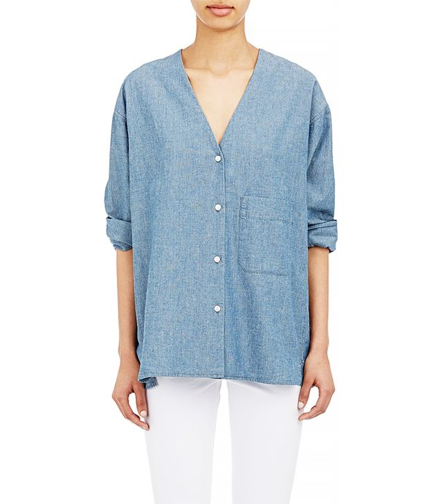 6397 Oversized Collarless Shirt