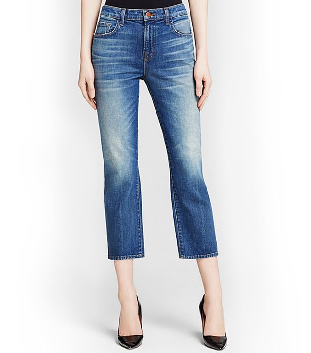 J Brand Adele High Rise Crop Boot Cut Jeans