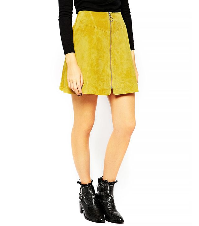 ASOS A-Line Skirt in Suede with Zip Through Detail