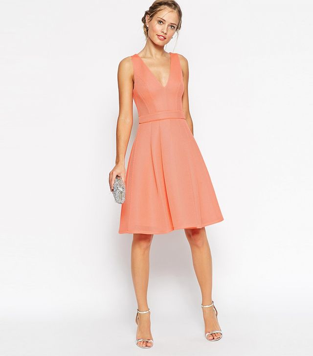 ASOS Premium Mesh Folded Plunge Neck Debutante Dress