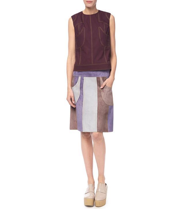 Derek Lam Patchwork Suede Skirt