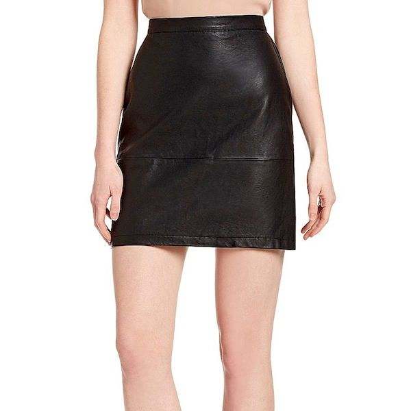 French Connection Athena Jet Faux-Leather Skirt