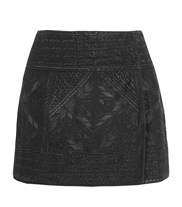 Isabel Marant Andy Embroidered Wrap Mini Skirt