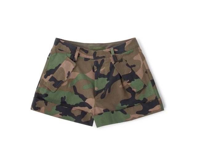 Valentino Cash & Rocket Camouflage Cotton Shorts