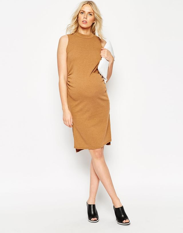 ASOS Maternity Rib Body-Conscious Dress with High Neck