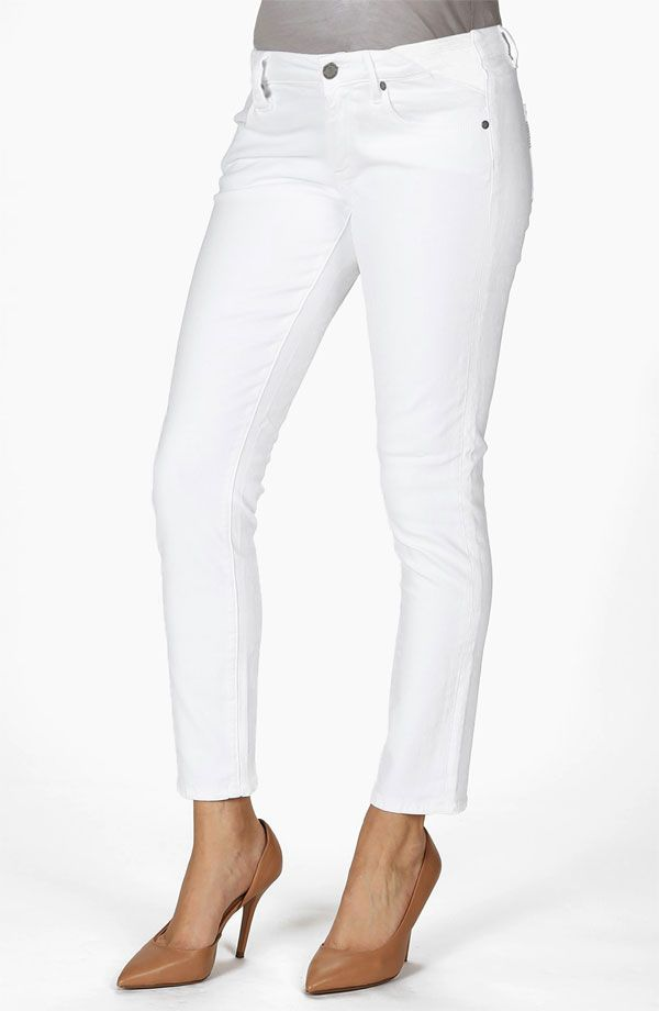 Paige Denim Skyline Maternity Ankle Skinny Stretch Jeans in Optic White